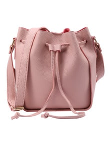 Embossed Faux Leather Drawstring Bucket Bag - Pink