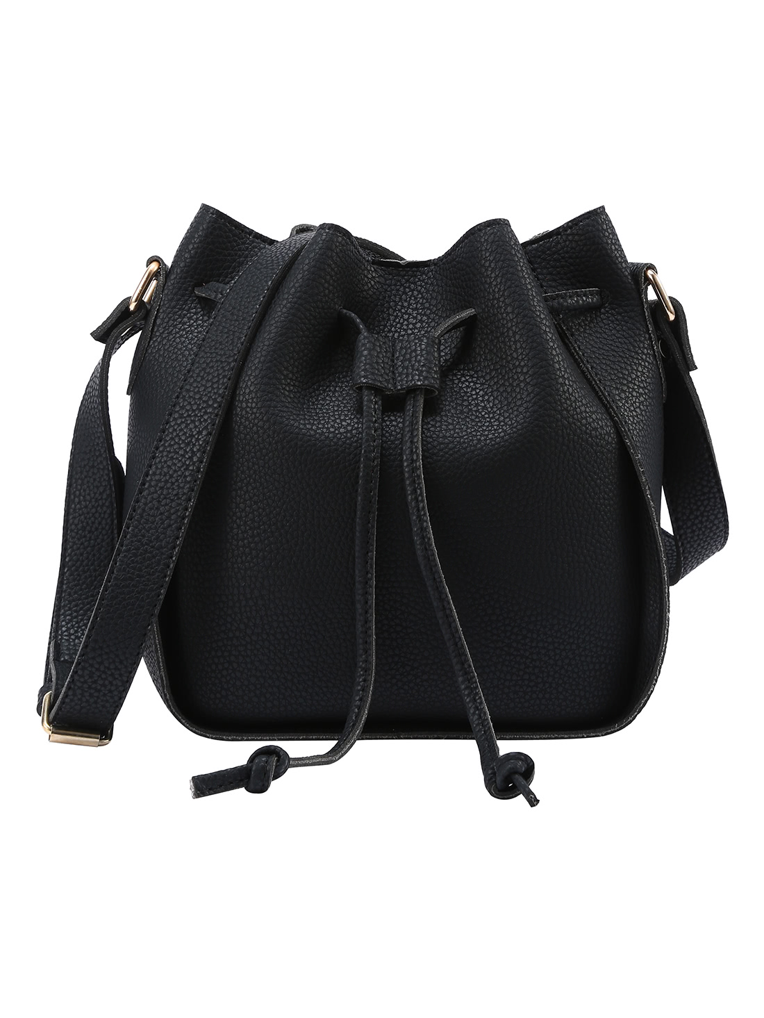 Embossed Faux Leather Drawstring Bucket Bag - BlackEmbossed Faux Leather Drawstring Bucket Bag - Black<br><br>color: Black<br>size: None