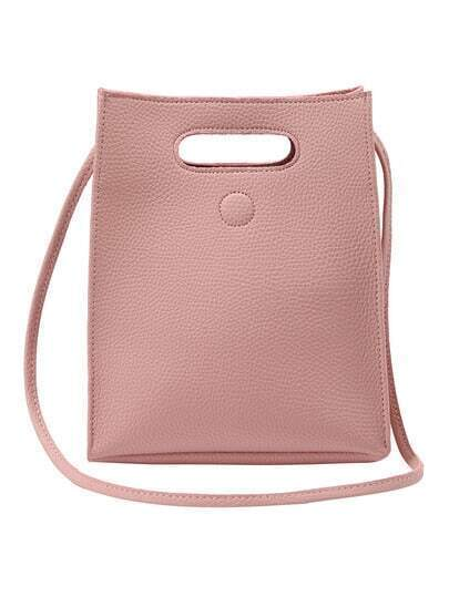 Embossed Faux Leather Cutout Handle Shoulder Bag - Pink