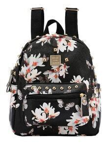 Faux Leather Studded Flower Print Backpack