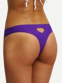 Heart Cutout Purple Bikini Bottom