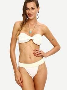 White Ruched Embossed Bandeau Bikini Set