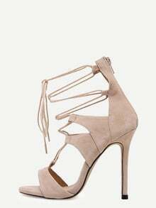Apricot Open Toe Cutout Strappy Stiletto Pumps