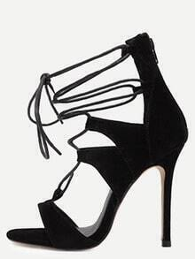 Black Open Toe Cutout Strappy Stiletto Pumps