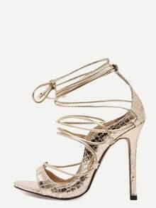Gold Snakeskin Open Toe Strappy Stiletto Pumps
