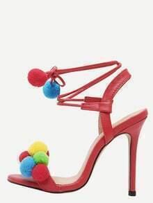 Red Open Toe Pompom High Stiletto Pumps