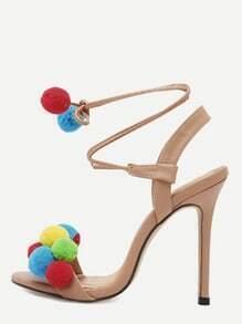 Apricot Open Toe Pompom High Stiletto Pumps
