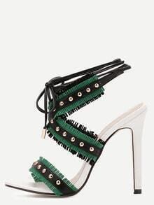 Green Open Toe Cutout Fringe Studded Stiletto Pumps