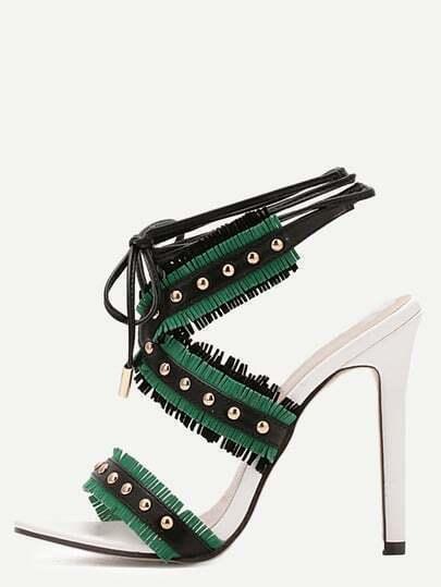 Green Open Toe Cutout Fringe Studded Stiletto Sandals