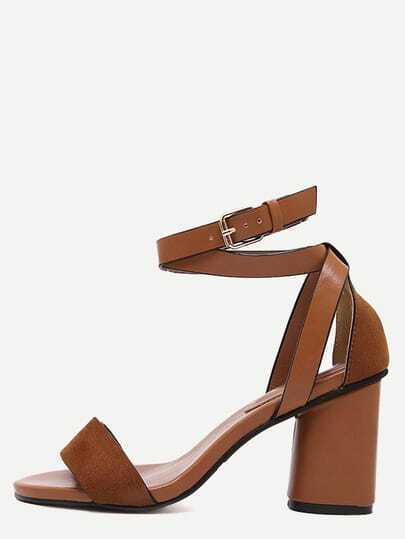 Sandalias faux suede abierto grueso -marrón claro