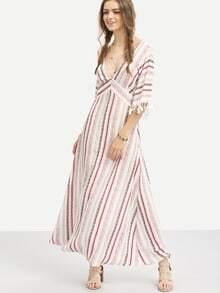 Multicolor Striped Half Sleeve V Neck Maxi Dress