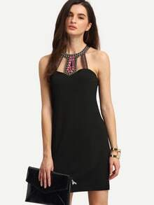 Black Sleeveless Rhinestone Hollow Bodycon Dress