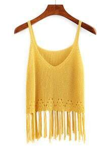 Yellow Scoop Neck Tassel Tank Top