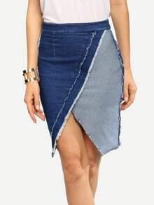 Denim Blue Asymmetrical Bodycon Skirt