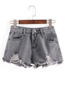 Distressed Raw Hem Grey Denim Shorts