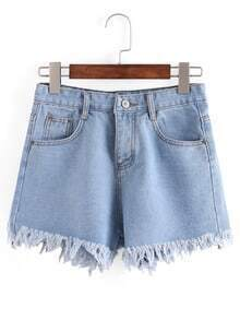 Raw Hem Light Blue Denim Shorts