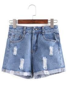 Distressed Rolled Hem Blue Denim Shorts