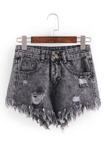 Raw Hem Grey Denim Shorts