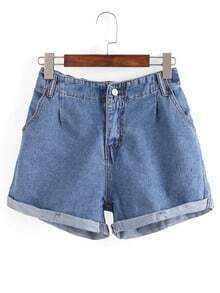 Rolled Hem Blue Denim Shorts