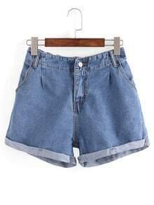 Rolled Hem Blue Denim Shorts