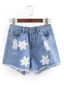 Ripped Flower Print Blue Denim Shorts