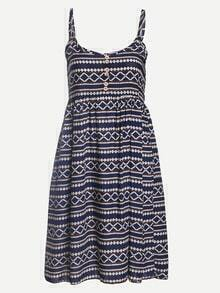 Buttoned Front Tribal Print Navy Cami Dress