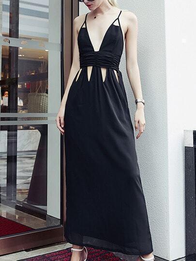 Black Plunge Neck Cutout Crisscross Cami Dress pictures