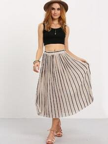 Vertical Striped Pleated Chiffon Skirt - Apricot