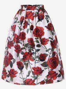 Multicolor Rose Print Box Pleated Midi Skirt