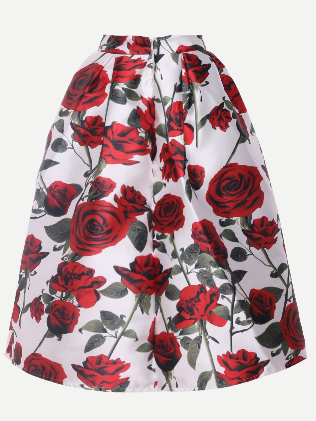 jupe pliss e mi longue imprim rose multicolore french shein sheinside. Black Bedroom Furniture Sets. Home Design Ideas