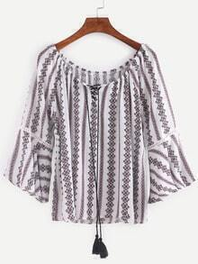 Tassel Lace-Up Neck Tribal Print Blouse - Red