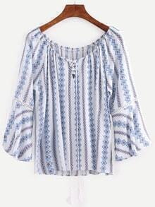 Tassel Lace-Up Neck Tribal Print Blouse - Blue