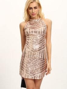 Halter Neck Gold Geometric Sequin Dress