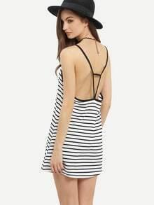 Contrast Trim Cutout Striped Cami Dress