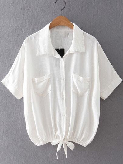 White Pockets Buttons Front Self-tie Bow Cotton Hemp Blouse
