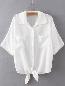 White Pockets Buttons Front Self-tie Bow Lapel Blouse