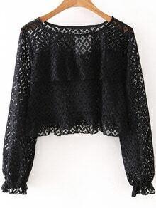 Black Round Neck Long Sleeve Ruffle Lace Blouse
