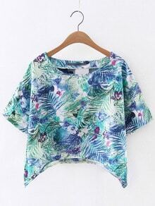 Green Short Sleeve Knit Flowers Printed Blouse
