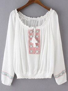 White Long Sleeve Tie Neck Tassel Embroidery Blouse