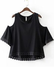 Black Dip Hem Cold Shoulder Embroidery Blouse