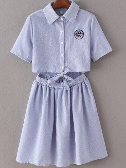 Blue Lapel Self-tie Bow Badge Patch Stripe Dress