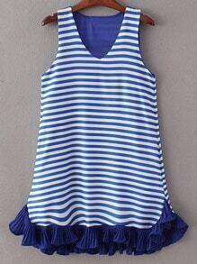 Multicolor V Neck Pockets Ruffle Hem Stripe Dress