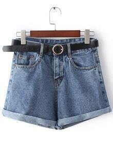 Dark Blue Pockets Roll Cuff Denim Shorts With Belt