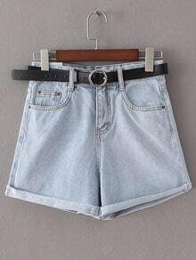 Light Blue Pockets Roll Cuff Denim Shorts With Belt