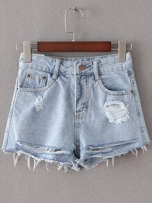 Light Blue Pockets Ripped Hole Denim Shorts