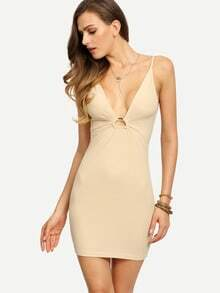 Apricot Spaghetti Strap Deep V Neck Dress