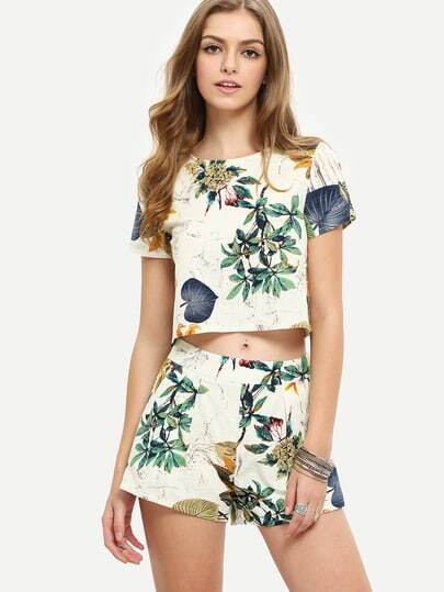 Florals Crop Top With Shorts Suits