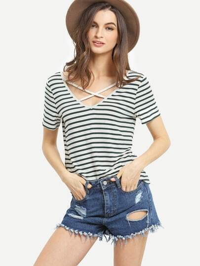 Black White Striped Criss Cross Front T-shirt