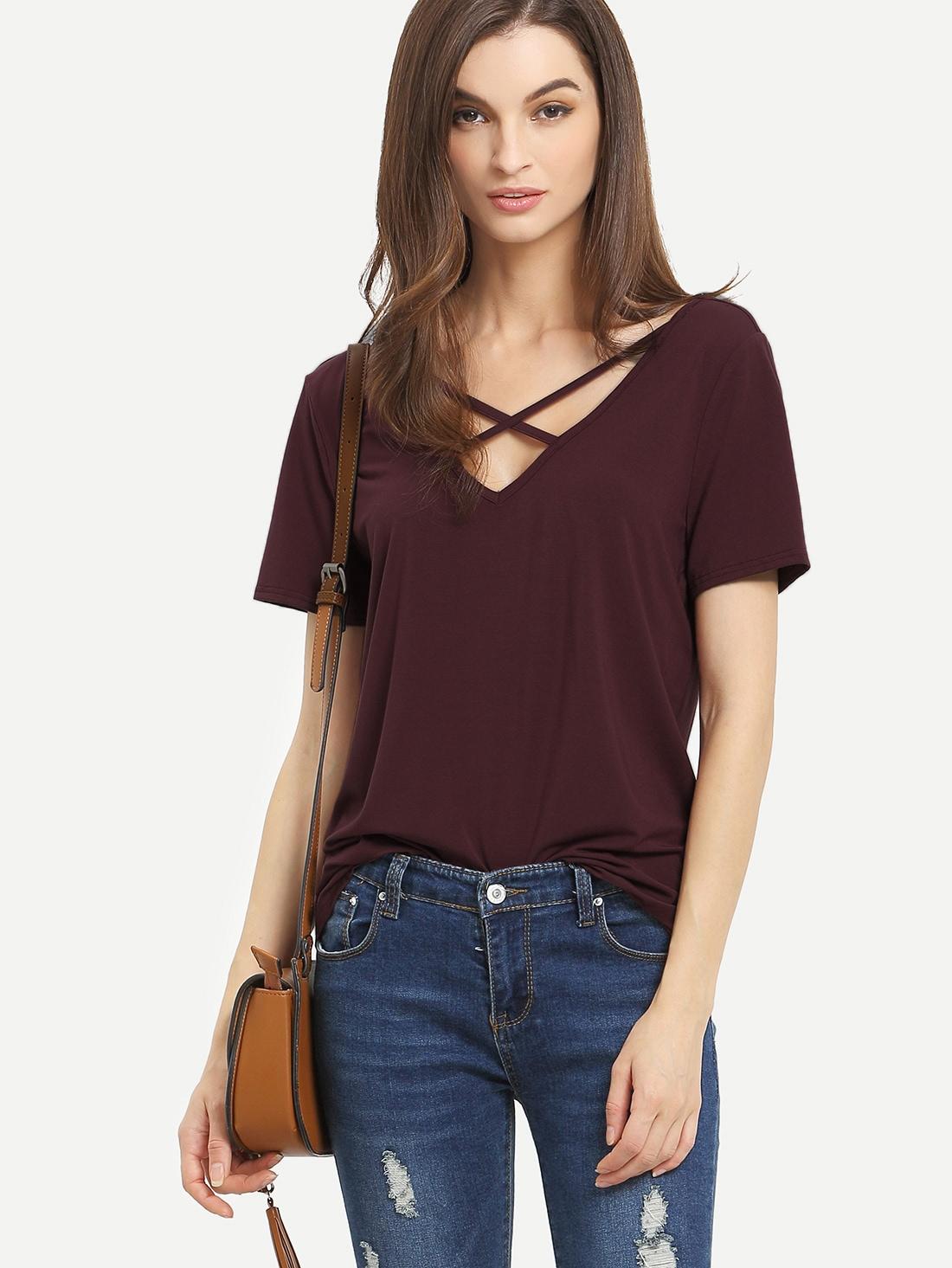 Criss Cross Front Casual T-shirt -SheIn(Sheinside)