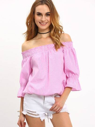 Bardot Shirred Bow Tie Back Top